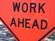 Work Ahead sign