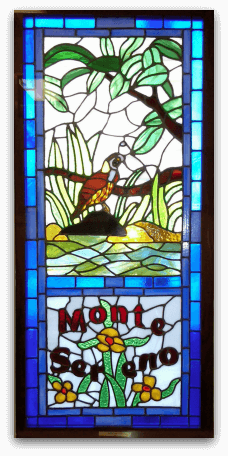 Monte Sereno stained glass from post office