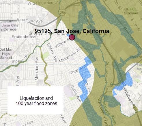 95125 Willow Glen liquefaction and flood plans per My Hazards Awareness site