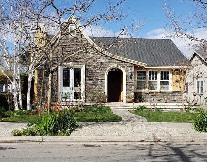 stone faced house on Willow Glen Way, San Jose
