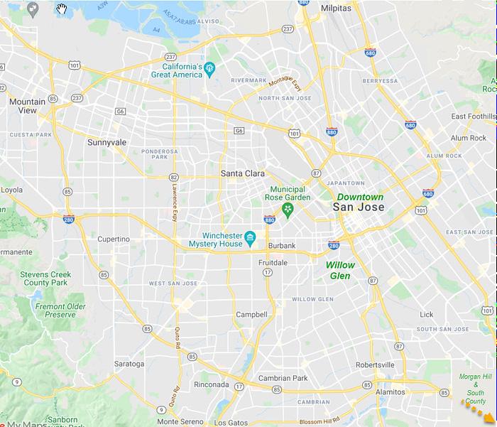 Willow Glen area within San Jose and Santa Clara County