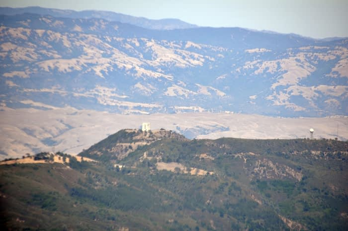 Mount Hamilton as viewed from the sky in Santa Cruz County