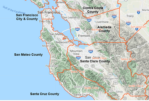 Map of San Mateo County in the San Francisco Bay Area