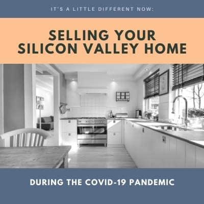 Image of a kitchen in black and white and the words It's a little different: Selling your Silicon Valley home - during the Covid-19 pandemic