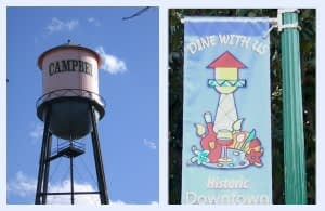 Campbell water tower and banner