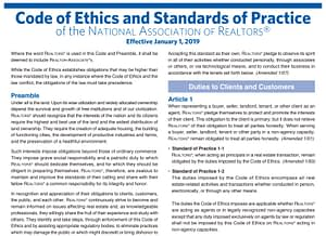 Image of the beginning of the National Association of Realtors code of ethics in 2019